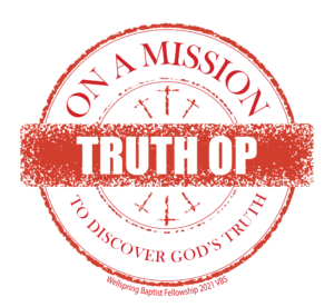 V-B-S logo featuring red circle that says on a mission to discover God's truth with red band across middle that says Truth Op